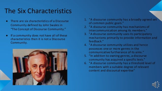 an analysis of the facebook community as a discourse community according to swaless six criteria According to gee, our words and actions must be congruent if we want to make  sense (5)  experimental aircraft association: analysis of a discourse  community  has all the characteristics of a discourse community determined by  john swales'  emma luster his 282 november 6, 2011 a discourse by three  drunkards.