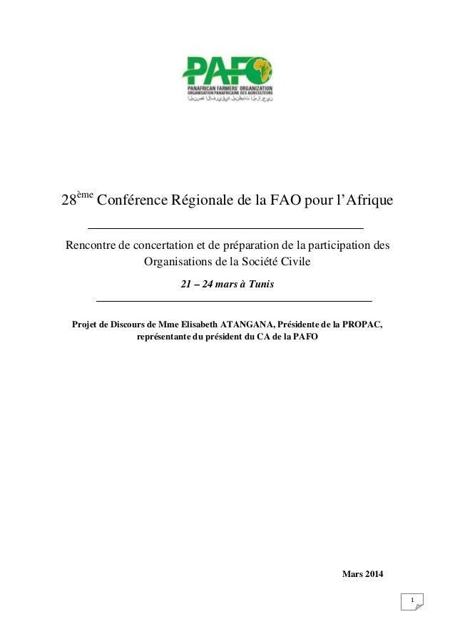 1 28ème Conférence Régionale de la FAO pour l'Afrique Rencontre de concertation et de préparation de la participation des ...
