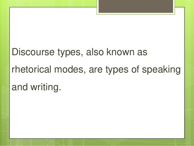 Discourse types Slide 2