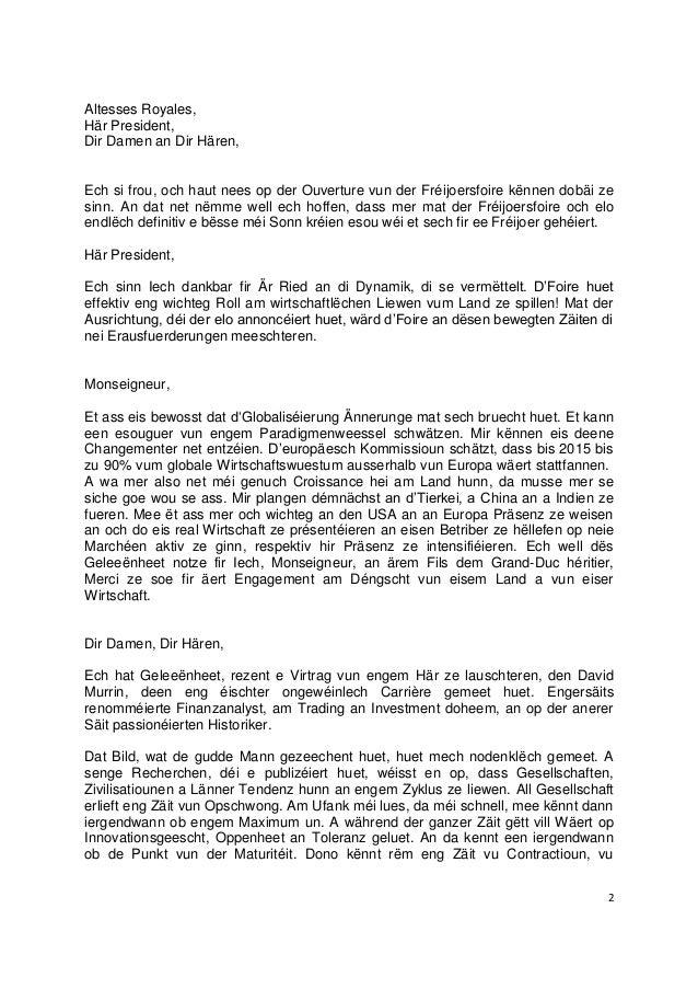 2Altesses Royales,Här President,Dir Damen an Dir Hären,Ech si frou, och haut nees op der Ouverture vun der Fréijoersfoire ...