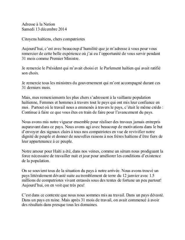 Adresse à la Nation  Samedi 13 décembre 2014  Citoyens haïtiens, chers compatriotes  Aujourd'hui, c'est avec beaucoup d'hu...