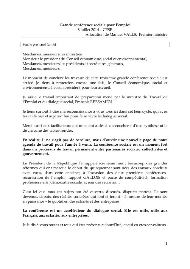 1 Grande conférence sociale pour l'emploi 8 juillet 2014 – CESE Allocution de Manuel VALLS, Premier ministre Seul le prono...