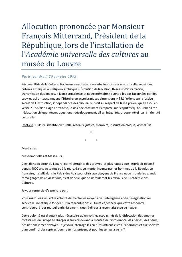 AllocutionprononcéeparMonsieurFrançoisMitterrand,PrésidentdelaRépublique,lorsdel'installationdel'Académieun...