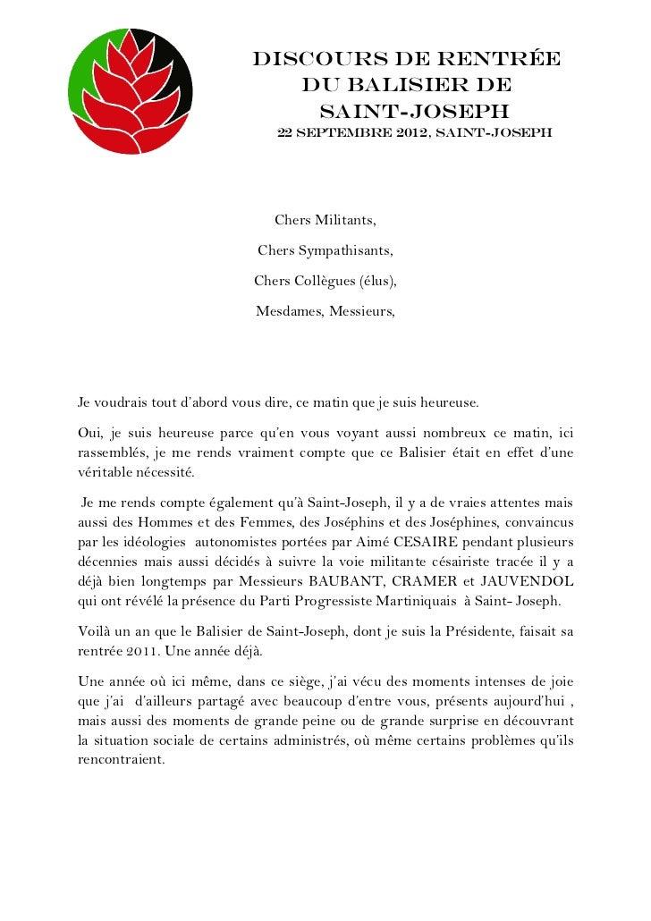 Discours de Rentrée                                du Balisier de                                 Saint-Joseph            ...