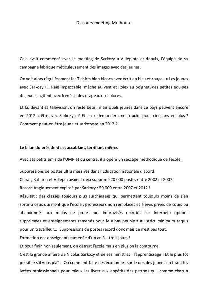 Discours meeting MulhouseCela avait commencé avec le meeting de Sarkozy à Villepinte et depuis, léquipe de sacampagne fabr...