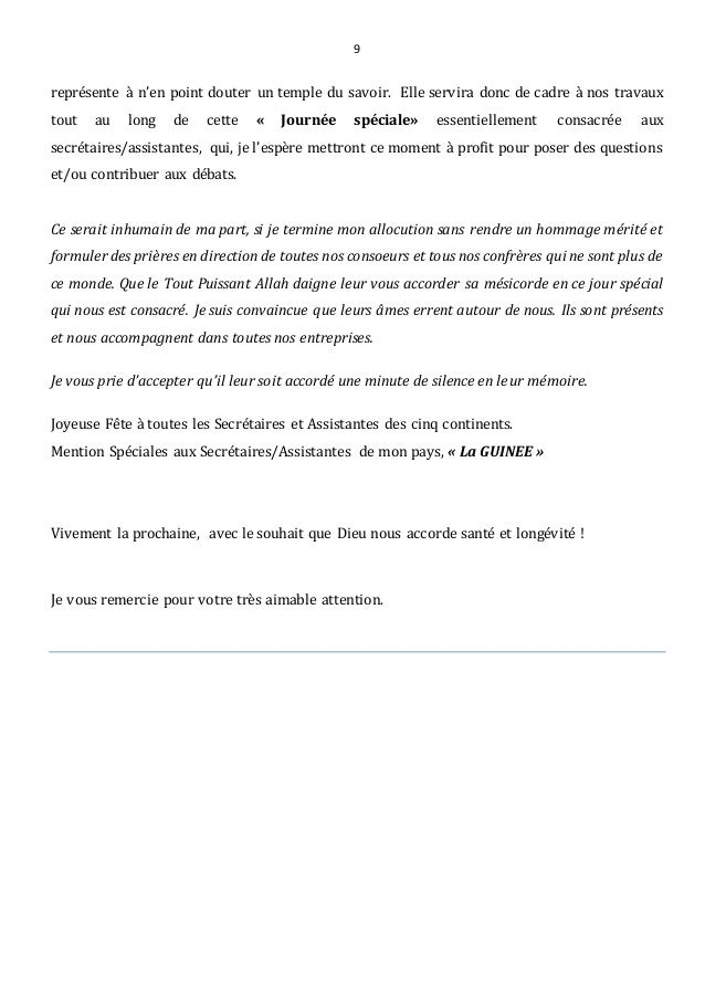 Discours Pour La Journee Internationale Des Secretaires Derniere Vers