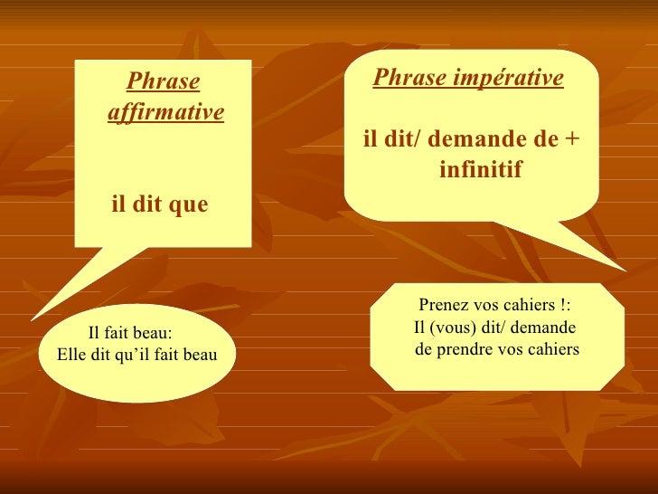 Phrase affirmative   il dit que   Phrase impérative  il dit/ demande de + infinitif   Il fait beau:  Elle dit qu'il fait...
