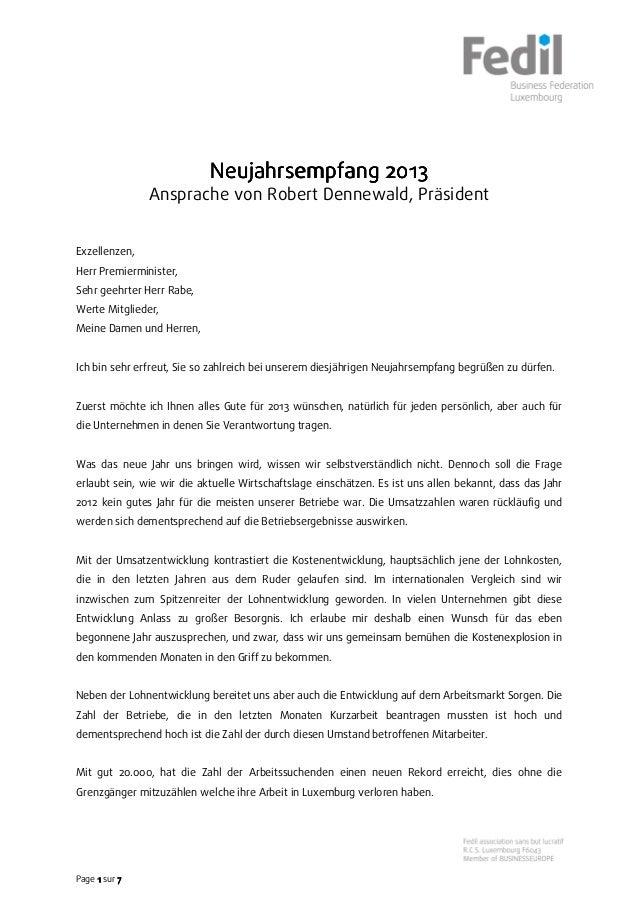 2013                            Neujahrsempfang 2013               Ansprache von Robert Dennewald, PräsidentExzellenzen,He...