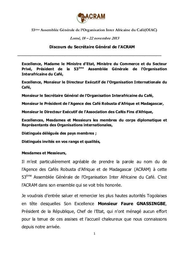 53ème Assemblée Générale de l'Organisation Inter Africaine du Café(OIAC)  Lomé, 18 – 22 novembre 2013 Discours du Secrétai...