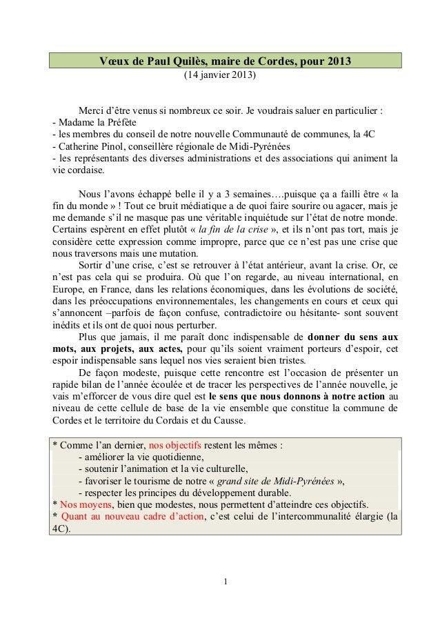 Vœux de Paul Quilès, maire de Cordes, pour 2013                                 (14 janvier 2013)       Merci d'être venus...
