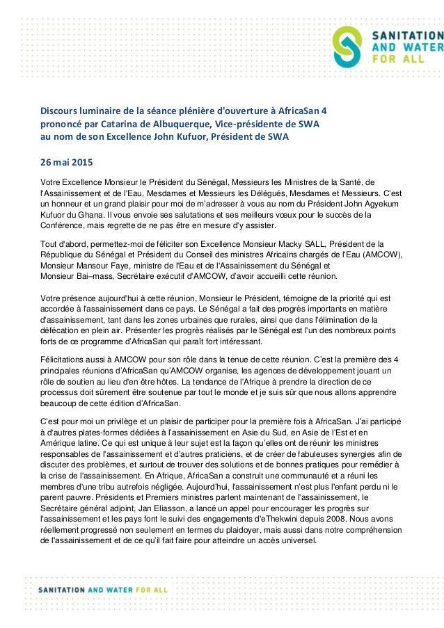 Discours luminaire de la séance plénière d'ouverture à AfricaSan 4 prononcé par Catarina de Albuquerque, Vice-présidente d...