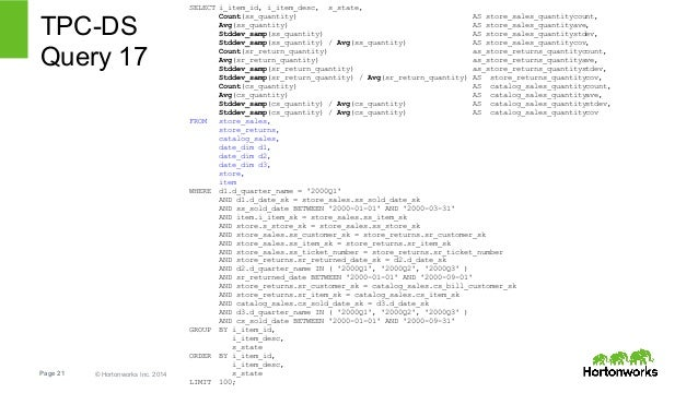 TPC-DS  Query 17  Page 21 © Hortonworks Inc. 2014  SELECT i_item_id, i_item_desc, s_state,  Count(ss_quantity) AS store_sa...