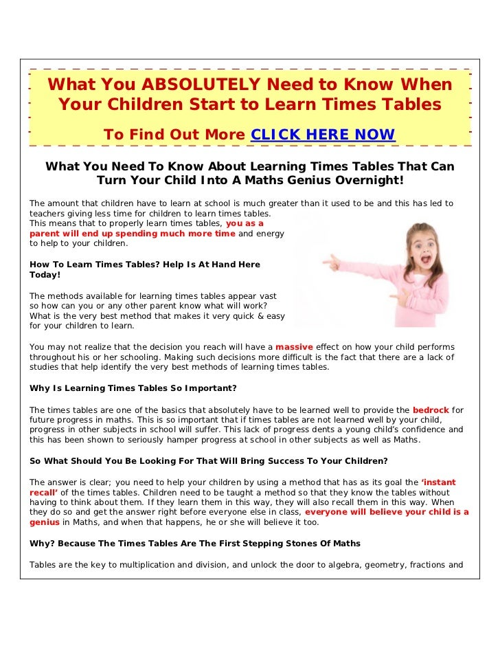Learning Times Tables Could Possibly Be Difficult Without Using A Mul