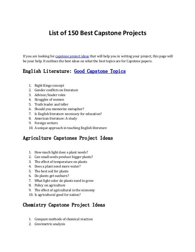 discover 150 capstone project ideas here