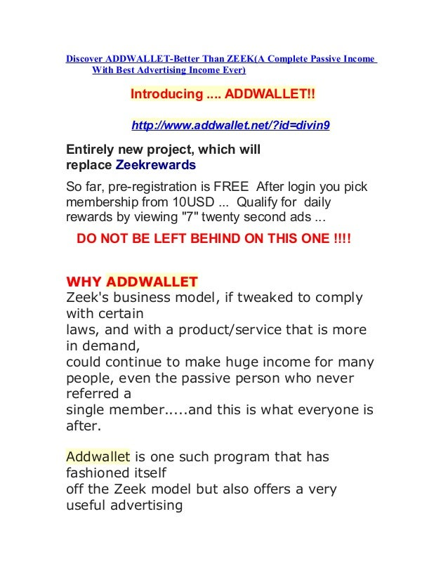 Discover ADDWALLET-Better Than ZEEK(A Complete Passive Income      With Best Advertising Income Ever)            Introduci...