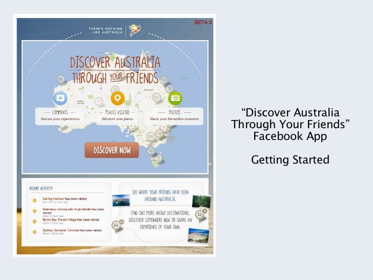 """""""Discover AustraliaThrough Your Friends""""    Facebook App   Getting Started"""