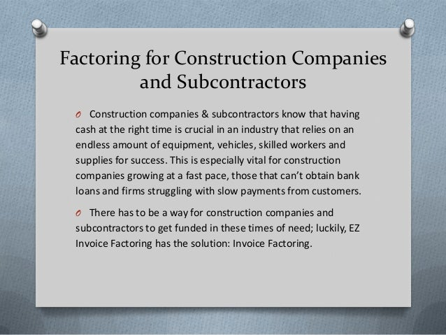 Discover Construction Factoring - Ez invoice factoring