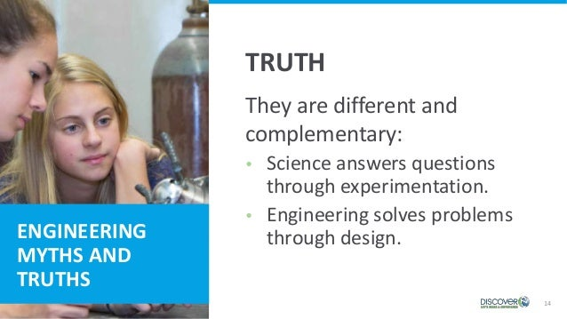 14 ENGINEERING MYTHS AND TRUTHS They are different and complementary:  Science answers questions through experimentation....