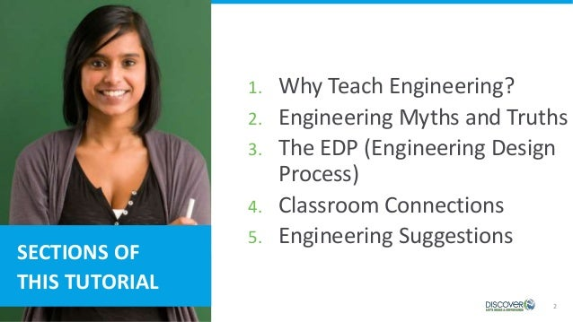 2 SECTIONS OF THIS TUTORIAL 1. Why Teach Engineering? 2. Engineering Myths and Truths 3. The EDP (Engineering Design Proce...