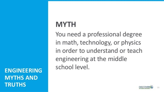 21 You need a professional degree in math, technology, or physics in order to understand or teach engineering at the middl...