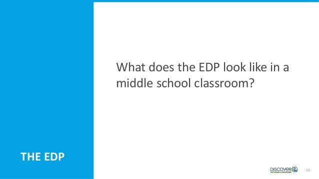 25 THE EDP What does the EDP look like in a middle school classroom?