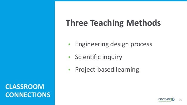  Engineering design process  Scientific inquiry  Project-based learning 36 CLASSROOM CONNECTIONS Three Teaching Methods