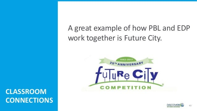 40 A great example of how PBL and EDP work together is Future City. CLASSROOM CONNECTIONS