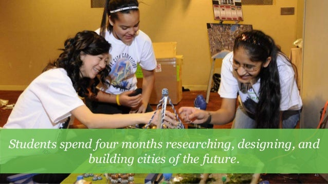 41 Students spend four months researching, designing, and building cities of the future.