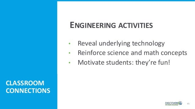 • Reveal underlying technology • Reinforce science and math concepts • Motivate students: they're fun! 45 CLASSROOM CONNEC...