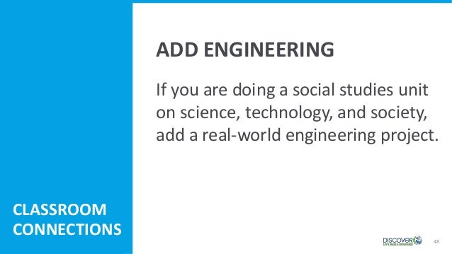 48 If you are doing a social studies unit on science, technology, and society, add a real-world engineering project. CLASS...
