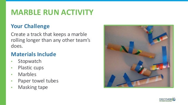 MARBLE RUN ACTIVITY Your Challenge Create a track that keeps a marble rolling longer than any other team's does. Materials...