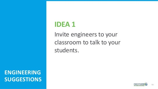 55 ENGINEERING SUGGESTIONS Invite engineers to your classroom to talk to your students. IDEA 1