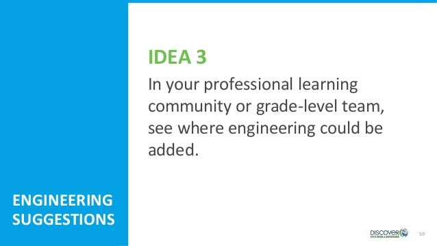 59 In your professional learning community or grade-level team, see where engineering could be added. ENGINEERING SUGGESTI...