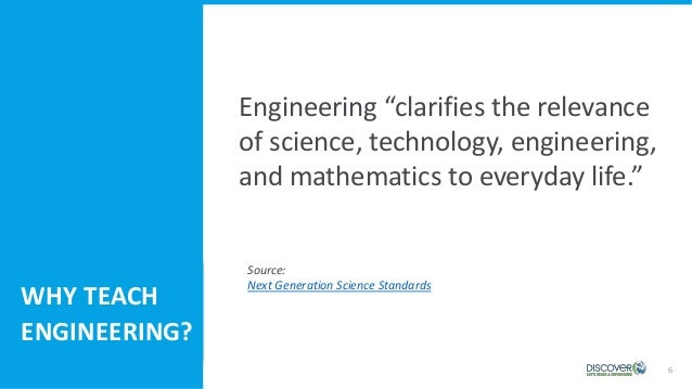 """6 Engineering """"clarifies the relevance of science, technology, engineering, and mathematics to everyday life."""" WHY TEACH E..."""