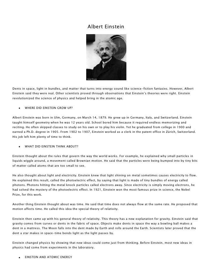 Albert Einstein<br />Dentsinspace,light in bundles, and matter that turns into energy sound like science-fiction fantas...
