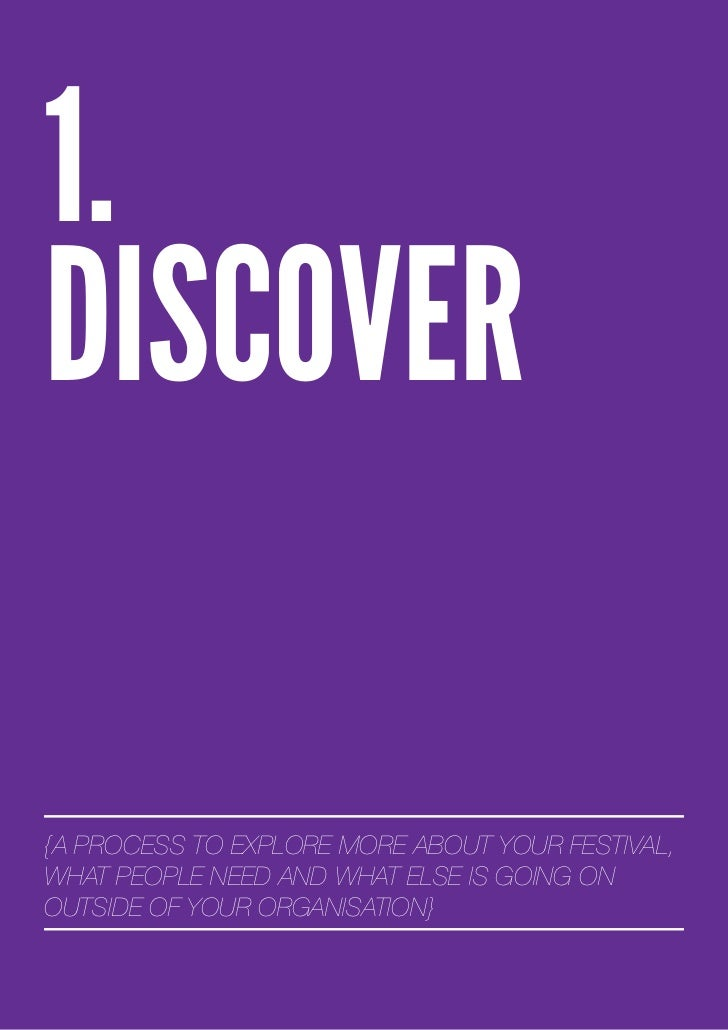 1.DISCOVER{A PROCESS TO EXPLORE MORE ABOUT YOUR FESTIVAL,WHAT PEOPLE NEED AND WHAT ELSE IS GOING ONOUTSIDE OF YOUR ORGANIS...