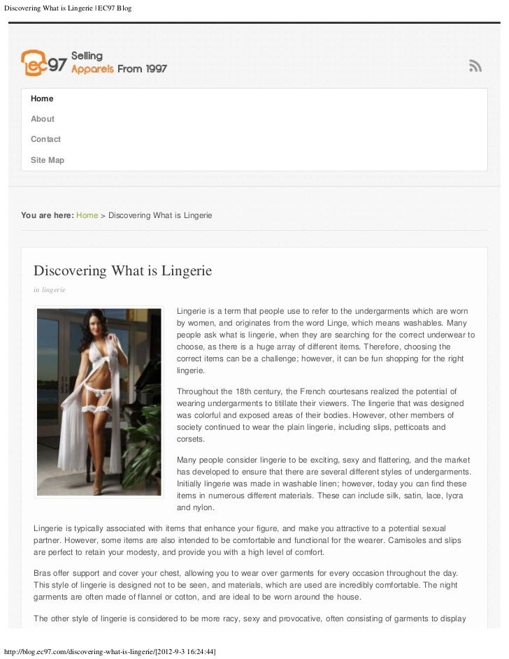 Discovering What is Lingerie | EC97 Blog        Home        About        Contact        Site Map     You are here: Home > ...