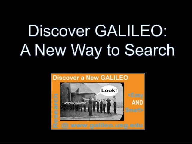 • What is Discover GALILEO?• What's the difference between discovery tools  and federated search?• What's in Discover GALI...