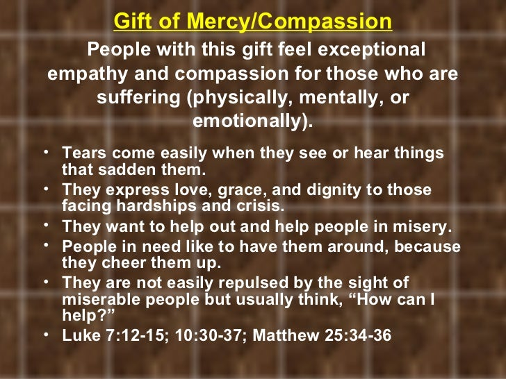 Discovering your spiritual gifts gift of mercycompassion negle Image collections