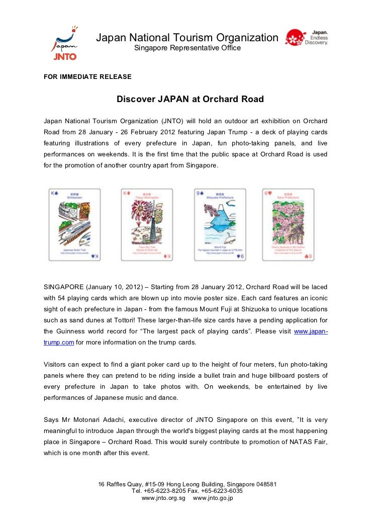 Japan National Tourism Organization                              Singapore Representative OfficeFOR IMMEDIATE RELEASE     ...