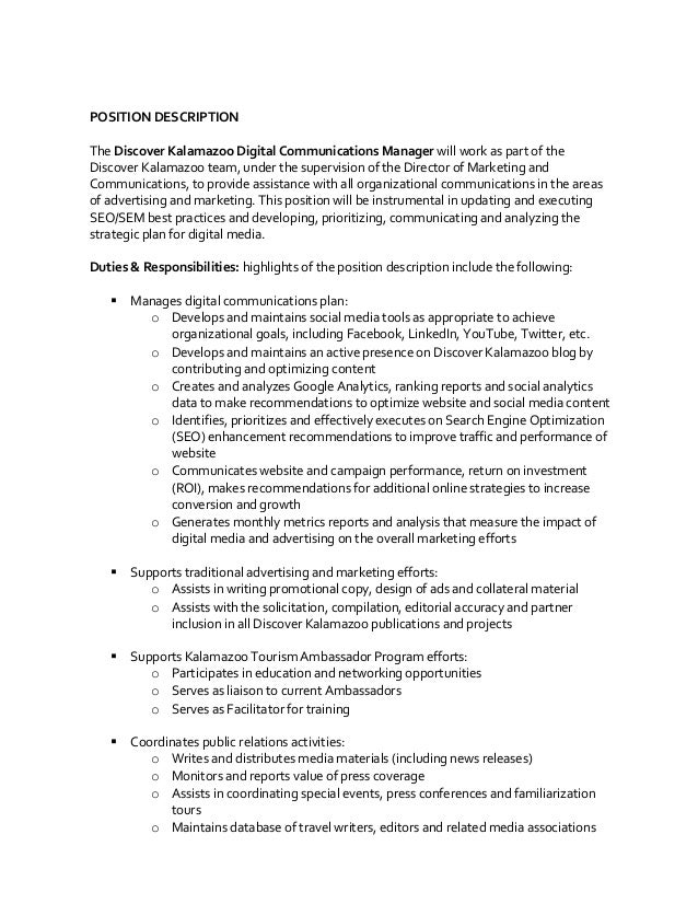 Public Relations Director Job Description - Template