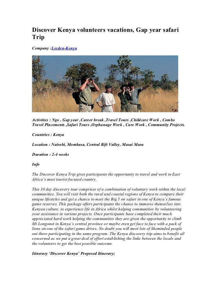 Discover Kenya volunteers vacations, Gap year safariTripCompany :Lecden-KenyaActivities : Ngo , Gap year ,Career break ,Tr...