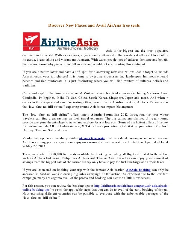 Discover New Places and Avail AirAsia free seats                                                              Asia is the ...