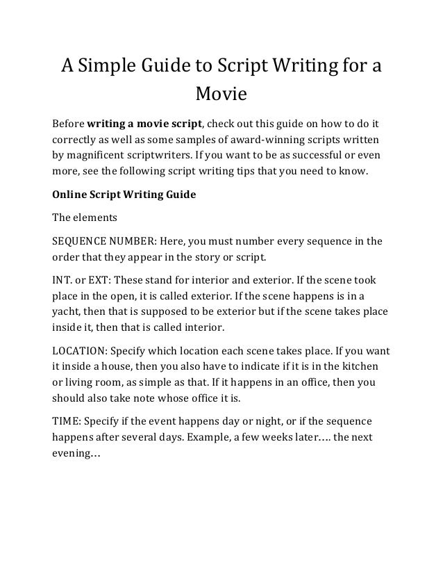Discover The Simple Guide To Script Writing For A Movie And Write You…