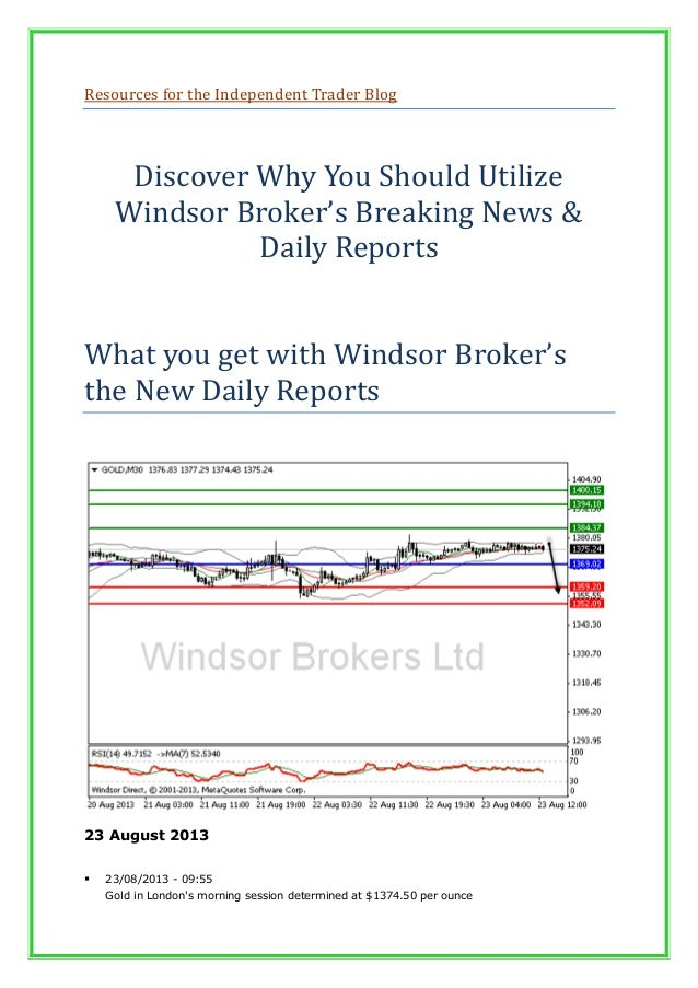 Resources for the Independent Trader Blog Discover Why You Should Utilize Windsor Broker's Breaking News & Daily Reports W...
