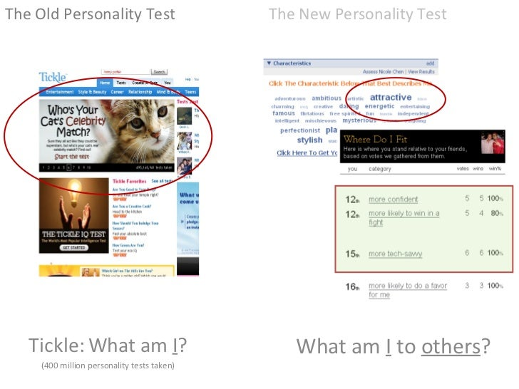 Tickle: What am  I ? (400 million personality tests taken) <ul><li>The Old Personality Test </li></ul>The New Personality ...