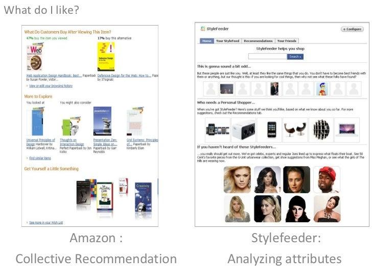 Amazon : Collective Recommendation <ul><li>What do I like? </li></ul>Stylefeeder: Analyzing attributes