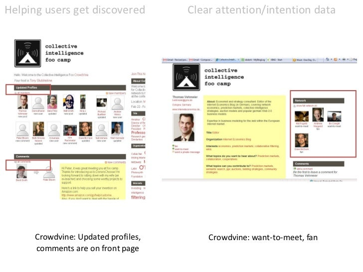 Crowdvine: Updated profiles, comments are on front page Helping users get discovered Clear attention/intention data Crowdv...