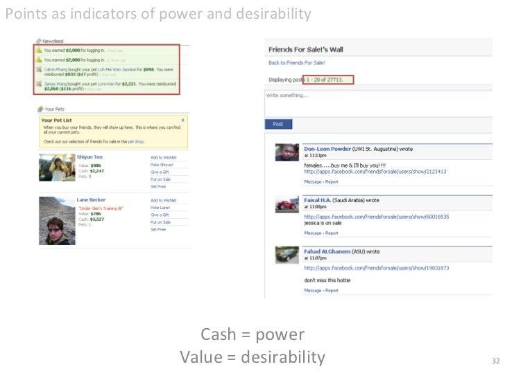 Cash = power Value = desirability <ul><li>Points as indicators of power and desirability </li></ul>