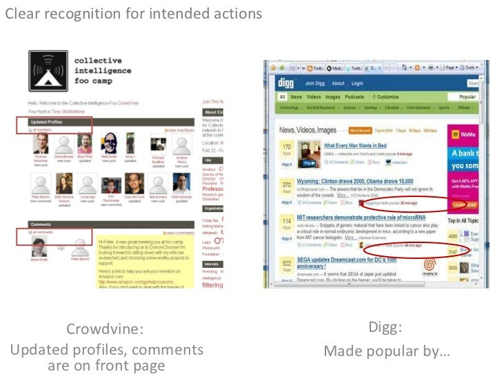 <ul><li>Clear recognition for intended actions </li></ul>Digg:  Made popular by… Crowdvine:  Updated profiles, comments ar...